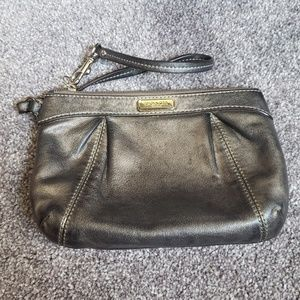 Coach Metallic Gunmetal Leather Wristlet